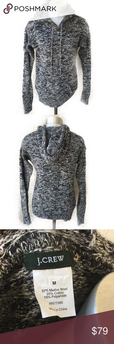 J. Crew merino wool grey hooded sweater Super cool wool sweater by J. Crew! In great condition! J. Crew Sweaters