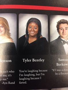 Funny yearbook quotes are always special. But the beat yearbook quotes complemented by funny yearbook photos along with senior quote ideas are the ones which qualify to being the best. Stupid Funny Memes, Funny Relatable Memes, Haha Funny, Funny Quotes, Funny Senior Quotes, Sassy Quotes, Funny Stuff, Quotes Quotes, Fart Quotes