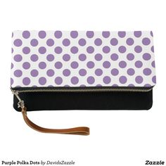 Purple Polka Dots Clutch Bag  Available on many products! Hit the 'available on' tab near the product description to see them all! Thanks for looking!     @zazzle #art #polka #dots #shop #chic #modern #style #circle #round #fun #neat #cool #buy #sale #shopping #men #women #sweet #awesome #look #accent #fashion #clothes #apparel #tote #bag #accessories #accessory #compact #mirror #hand #purse #clutch #cosmetic #makeup #messenger #bicycle #purple #white