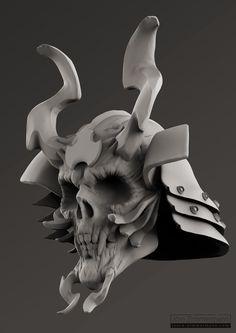 samurai skull clay render by jzimmermann Hannya Mask Tattoo, Oni Mask, Samurai Tattoo, Samurai Art, Yakuza Tattoo, Skull Helmet, Asian Tattoos, Japanese Tattoos, Japanese Mask