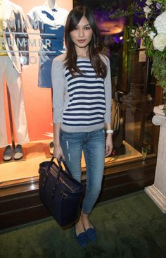 Gemma Chan with our Marylebone Tote in Navy Pebble
