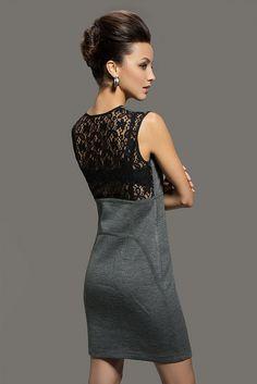 Sleeveless Lace Back Slanting Zip Front Knit Sheath Dress (Grey) by AgathaGarcia, via Flickr
