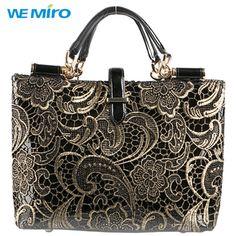 2015 New Style Women Bag Genuine Leather Bag Printed Shoulder Bag Tote Lace  Bolsas Women Handbag High Qulaity Black 287fcd54702