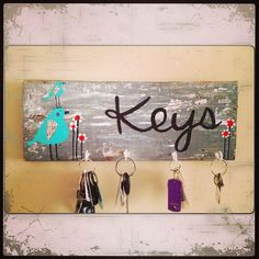 Key holder functional artwhimsical bird art by sunshinegirldesigns, $35.00