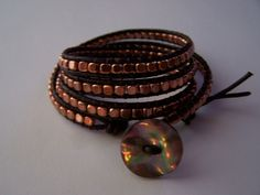 Abalone Meets Copper Beaded Leather Wrap Bracelet. $59.99, via Etsy.