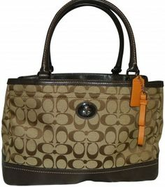 Coach Park Signature Carryall F23294 Khaki & Brown Tote Bag $151