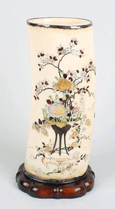 A Japanese Meiji period shibayama-decorated ivory tusk :