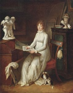 pintoras: Circle of Marguerite Gérard (French, 1761 - 1837): Letter writing (via Christie's)