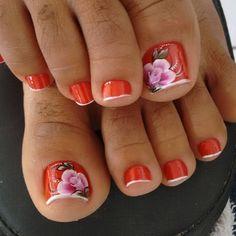 Unhas do Pé Decoradas 967, #unhasbonitas #UnhasDecoradasSimples #UnhasLindas, French Tip Nail Designs, French Tip Nails, Pedicure Designs, Toe Nail Designs, Toe Nail Art, Toe Nails, Cute Pedicures, Metallic Nails, Pretty Toes