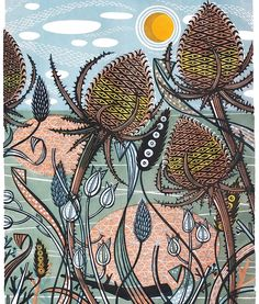 'Autumn Teasels', a limited edition linocut by Angie Lewin, originally commissioned by Penguin Books for the cover of Penelope Lively's 'The Road to Lichfield' Lino Print Artists, Yellena James, Angie Lewin, Linoprint, Linocut Prints, Woodcut Art, Limited Edition Prints, Art Forms, Vintage Posters