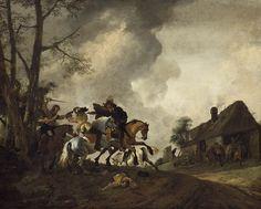 Philips Wouwerman - Ruitergevecht voor een boerenhoeve