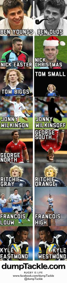 Ben Youngs. Nick Easter. Tom Biggs. Jonny Wilkinson. George North. Ritchie Gray. Francois Louw. Kyle Eastmond.     Rugby Funny. Enjoy!