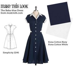 (via Make This Look: The Baba-blue Dress - The Sew Weekly Sewing Blog & Vintage Fashion Community) Le Look, Vintage Sewing Patterns, Clothing Patterns, Needle And Thread, Sewing Blogs, Sewing Tutorials, Sewing Hacks, Sewing Crafts, Shirt Dress Pattern