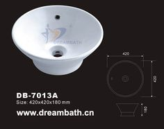 Product Name:Round Vessel Basin Model No.: DB-7013A   Dimension: 420X420X180mm  (1 inch = 25.4 mm)  Volume: 0.04CBM  Gross Weight: 9KGS  (1 KG ≈ 2.2 LBS) Basin shape: Round