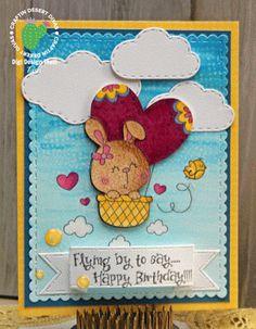 Craftin Desert Divas Bunny Heart Balloon Digi, Fancy Frames, Sky's The Limit and Flag Banner Dies