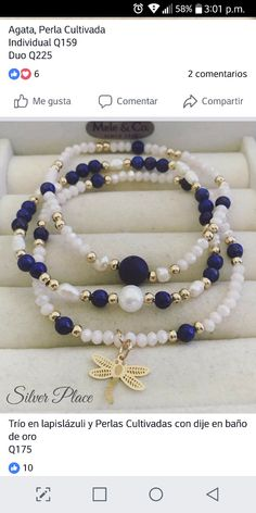 Beaded Jewelry Designs, Handmade Beaded Jewelry, Handmade Bracelets, Bracelets Bleus, Jewelry Bracelets, Bracelet Crafts, Jewelry Crafts, Homemade Jewelry, Bijoux Diy