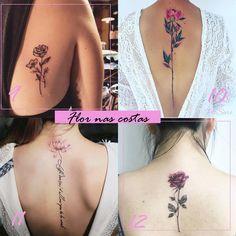 Tem algo mais feminino e delicado do que uma flor? Eu sou apaixonada por flores, e por esse motivo que um dos meus objetivos para o próx... Back Tattoo Women, Tattoos For Women, Body Tattoos, Tatoos, Rosen Tattoo Frau, Beautiful Back Tattoos, Tattoo Feminina, Tattoo Inspiration, Small Tattoos