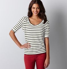 navy stripes + red jeans
