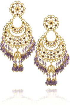 Isharya Moon Bali gold-plated amethyst earrings Isharya earrings have a stud and butterfly to fasten to the ear. gold-plated earrings f Amethyst Earrings, Gold Plated Earrings, Gold Earrings, Drop Earrings, High Jewelry, Crystal Jewelry, Jewelry Box, Jewellery, Isharya