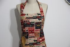 BBQ Apron - Men's Apron -The King BBQ Apron- Unisex Apron-Chef Apron Black red and beige Apron. by Wheelering on Etsy