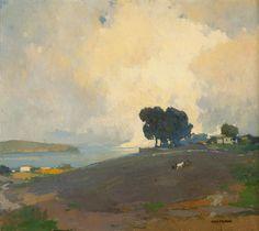 Arthur F. Mathews  (1860-1945 San Francisco, CA) ::  Titled: Summertime - oil on canvas laid to canvas - 23.5'' x 26'' - est: $50,000/70,000