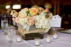 wooden+box+centerpieces | This venue has dramatic views of Grand Lake, an historic woodsy feel ...