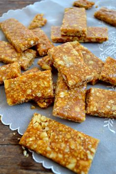 Chinese Sesame Peanut Brittle - oh this sounds awesome! (Use organic sugar in place of rock sugar, walnuts instead of peanuts, etc., etc.)