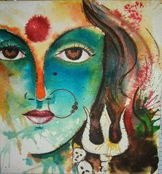 Durga is derived from the roots dur (difficult) and gam (pass, go through) Arte Krishna, Arte Shiva, Shiva Art, Hindu Art, Mahakal Shiva, Durga Painting, Lord Shiva Painting, Durga Maa Paintings, Painting Art