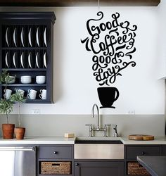 vinyl wall decal quote coffee kitchen shop restaurant cafe art stickers unique gift is part of Cafe wall - Vinyl Wall Decal Quote Coffee Kitchen Shop Restaurant Cafe Art Stickers Unique Gift CafeWall art Kitchen Stickers, Kitchen Wall Decals, Vinyl Wall Decals, Vinyl Decor, Wall Stickers, Coffee Shop Design, Cafe Design, Cafe Interior, Kitchen Interior