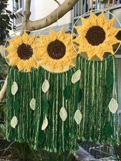 Crochet Sunflower Wall Hanging | Sunflower Decor | Home Decor | Sunflower Art#art #crochet #decor #hanging #home #sunflower #wall Crochet Wall Art, Crochet Wall Hangings, Crochet Home, Cute Crochet, Crochet Crafts, Crochet Sunflower, Crochet Leaves, Crochet Flowers, Sunflower Crafts