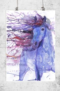 Horse art print equestrian equine abstract horse by ValrArt