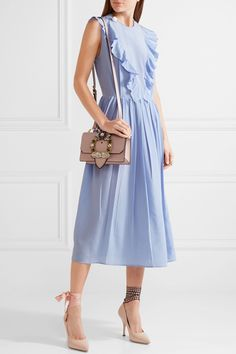 Miu Miu | Ruffled silk crepe de chine midi dress | NET-A-PORTER.COM