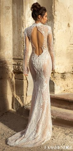 Lace unique mermaid wedding dress with long sleeves and high neckline with keyhole open low back design | Bridal gown styles for the sophisticated bride | Eva Lendel Wedding Dresses 2021- Golden Hour Collection -Bredley - Belle The Magazine See more gorgeous bridal gowns by clicking on the photo