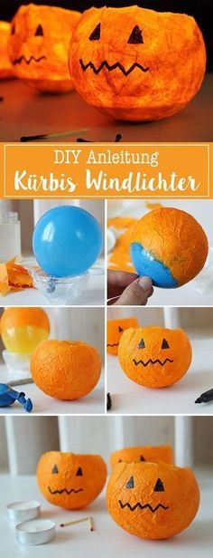 DiY Pumpkin Lanterns This Halloween decoration is in the truest sense . - DiY pumpkin lanterns This Halloween decoration is literally child& play: these - Kids Crafts, Fall Crafts, Diy And Crafts, Paper Crafts, Halloween Crafts For Kids To Make, Kids Diy, Halloween Decorations For Kids, Diy Halloween Lanterns, Christmas Decorations