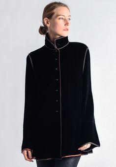 Sophie Hong Silk Blend Velvet Top in Black Velvet Tops, Issey Miyake, Black Sweaters, Chef Jackets, Cashmere, Style Inspiration, Silk, Storyboard, Sweatshirts