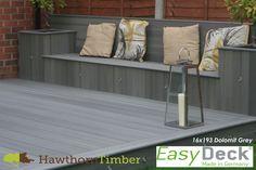 EasyDeck Slip Resistant Decking Boards Dolomit Grey Don't let the length of your property dissuade Wpc Decking, Composite Decking, Decking Boards, Back Garden Design, Backyard Garden Design, Patio Design, Garden Landscaping, Paving Ideas, Decking Ideas