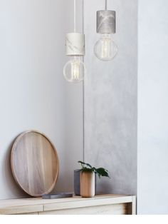 Flair 1 Light Pendant in White Marble