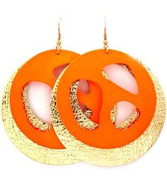 Gorgeous fishhook style earrings designed with fluorescent circles with asymmetrical cutouts layered with gold...