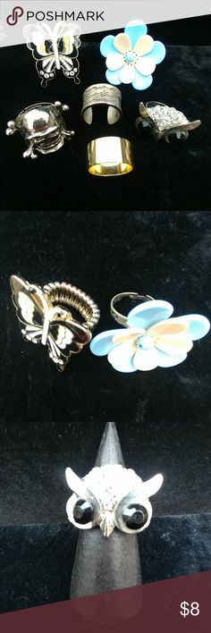 🚩SALE🚩Bundle of Fun Fashion Rings EUC, 6 rings, 5 are adjustable, one gorgeous big blue & white flows, a butterfly, skull & crossbones, an owl, one band with delicate etchings & one gold tone polished band which fits a size 7 Jewelry Rings