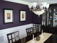 My eggplant purple dining room, I chose this color on a whim and everyone seems to like it. The color is Black Raspberry by Benjamin Moore., Dining Rooms Design Source by professorpandas Dining Room Colors, Dining Room Walls, Dining Room Design, Dark Purple Walls, Purple Rooms, Gray Walls, Deep Purple, Into The West, Gray Bedroom