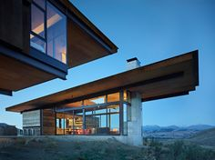 Studhorse Residence was designed as a four season family retreat by Olson Kundig Architects, located in the remote Methow Valley, Winthrop, Washington. Cantilever Architecture, Architecture Résidentielle, Masterplan, Studio Build, Rural Retreats, Reclaimed Barn Wood, Modern House Design, Concrete Fireplace, Exterior