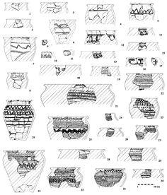 Giecz-Grodziszczko, stan. 1. Wykopy A-A2 – ceramika z drugiego poziomu osadniczego południowej części grodziska (rys. T. Krysztofiak)  925 - 975 AD