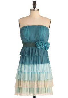 You Better Be-reef It Dress - Short, Green, Tan / Cream, Flower, Pleats, Prom, Wedding, Party, Empire, Strapless, Blue, Tiered
