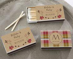 Personalized White Matchboxes - Fall (Set of Kate Aspen's Personalized Matchboxes provide you a personalized fall favor that is as useful as it i Beach Wedding Favors, Personalized Wedding Favors, Unique Wedding Favors, Wedding Ideas, Diy Wedding, Bridal Shower Rustic, Bridal Shower Favors, Bridal Showers, Wedding Matches