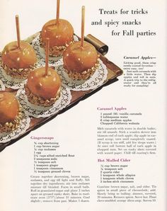 Vintage Halloween Recipes – Caramel apples, gingersnaps, hot mulled cider – Famous Last Words Retro Recipes, Old Recipes, Vintage Recipes, Cooking Recipes, Cookbook Recipes, Apple Recipes, Healthy Recipes, Thanksgiving Recipes, Pastries
