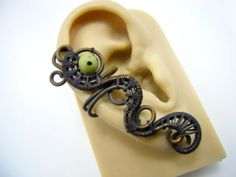 Neon Green and Black Earcuff Wire Wrapped by NorthShoreTreasury, $26.00