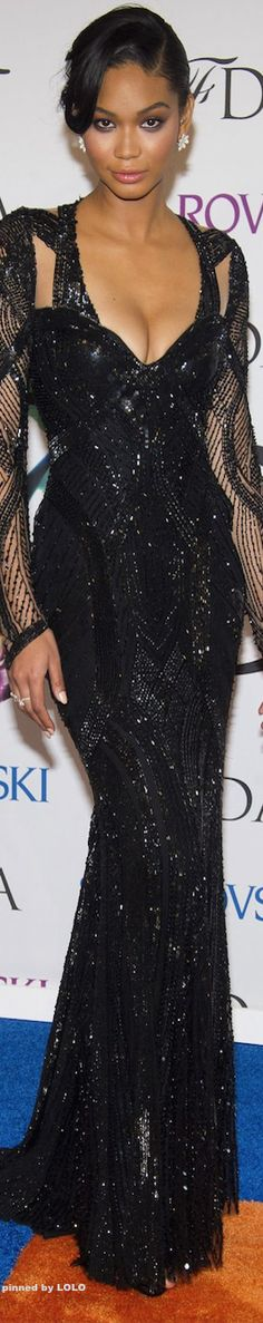 Chanel Iman in Monique Lhuillier Red Carpet 2014 CFDA Awards