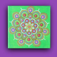 Mini painting on canvas mandala design dot by BenDyerOriginalArt