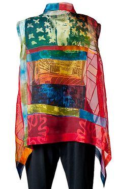 Caryl Gaubatz,  Rainbow 2012; silk organza; Thermofax screen printing with degumming paste, fiber reactive dyes; Bojagi piecing