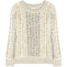 Vanessa Bruno Lace-paneled cotton-blend sweater ($210) ❤ liked on Polyvore featuring tops, sweaters, shirts, jumpers, white lace crochet top, white shirt, cream sweater, loose fitting shirts and vanessa bruno sweater